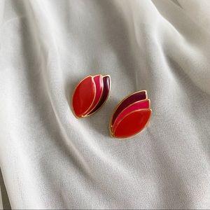 VTG Block Colors Red Pink Burgundy Almond Earrings